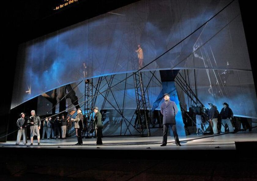 """The whaling ship in San Diego Opera's production of """"Moby-Dick"""" at the Civic Theatre in 2012."""