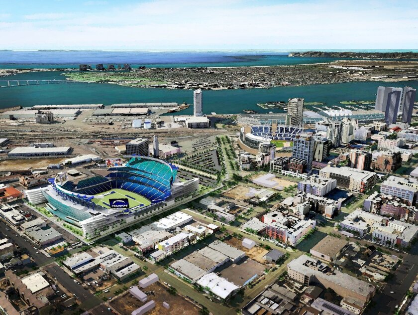 One version of a new Chargers stadium shows it located downtown, just east of Petco Park.
