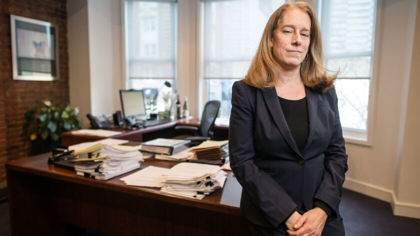 Attorney Shannon Liss-Riordan, seen here in 2016, has represented workers in a number of lawsuits against Uber. Now she is advancing a novel claim that the ride-hailing giant's practices hurt not only drivers but the public.