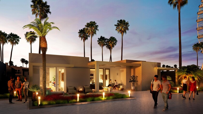 Artist rendering of a plush Hotel Indigo resort being built in Coachella is expected to cater to att