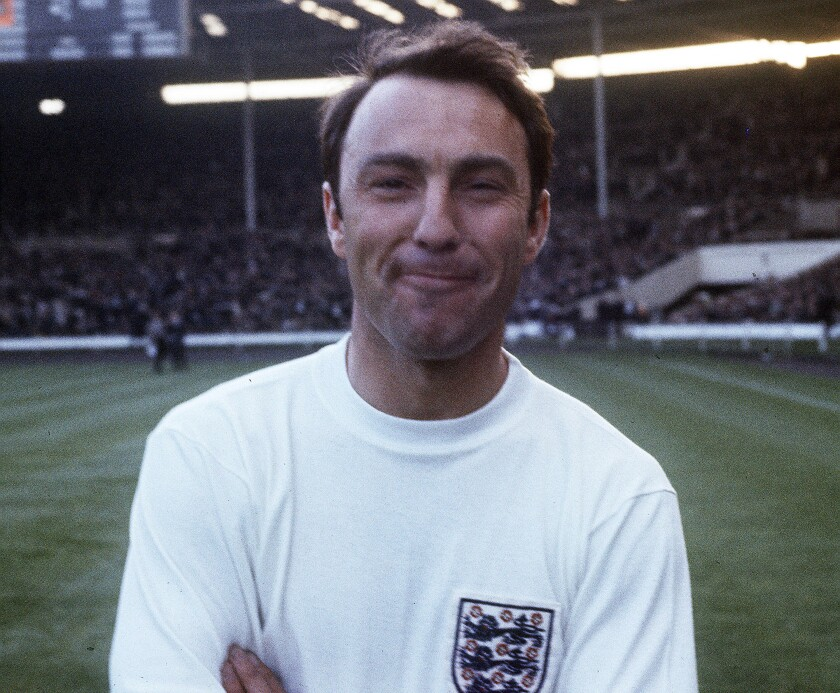 FILE - In this 1967 file photo, England football forward Jimmy Greaves stands on the pitch at Wembley, England, prior to an international soccer match. Jimmy Greaves, one of England's greatest goal-scorers who was prolific for Tottenham, Chelsea and AC Milan has died. He was 81. With 266 goals in 379 appearances, Greaves was the all-time record scorer for Tottenham, which announced his death on Sunday, Sept. 19, 2021. (AP Photo, File)