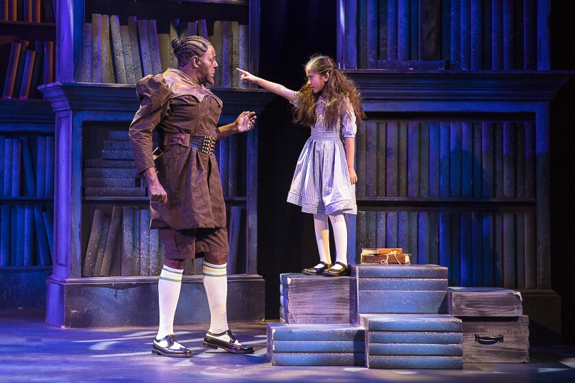 "Michael A. Shepperd and Audrey Cymone in the La Mirada Theatre production of ""Matilda the Musical."""
