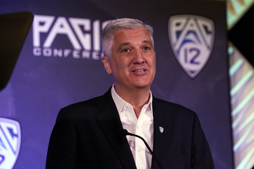 Pac-12 Commissioner George Kliavkoff speaks during the Pac-12 Conference media day