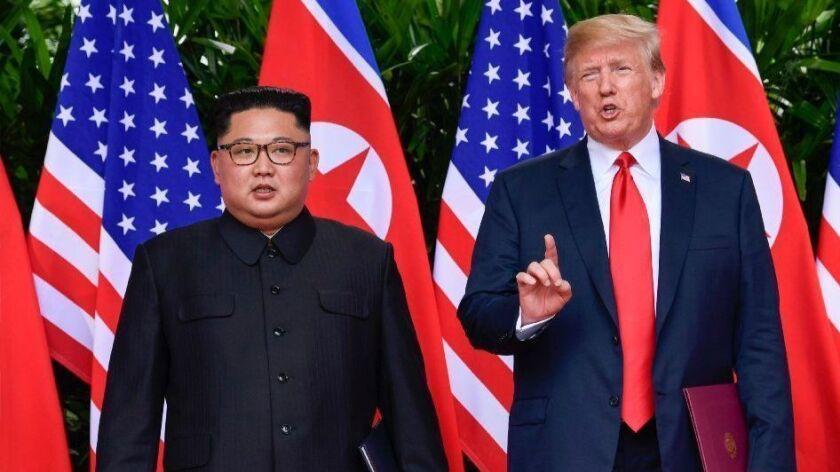 President Trump makes a statement before saying goodbye to North Korean leader Kim Jong Un.