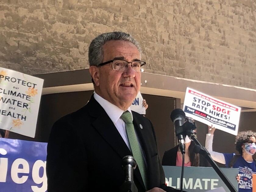 Joe LaCava, member of the San Diego City Council, speaks at rally organized by local environmental groups.