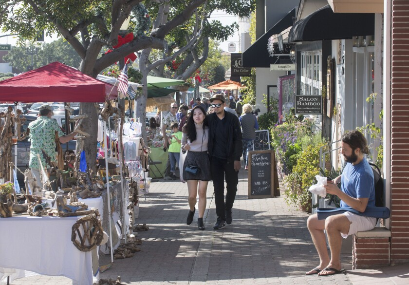 People in downtown San Clemente.