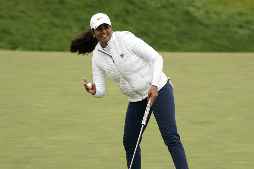 Megha Ganne waves after making her putt on the eighth green during the second round of the U.S. Women's Open golf tournament at The Olympic Club, Friday, June 4, 2021, in San Francisco. (AP Photo/Jeff Chiu)