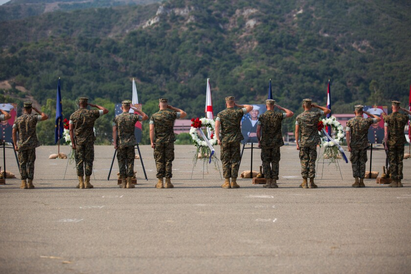 Marines and sailors at an August memorial service in Camp Pendleton saluted the victims.