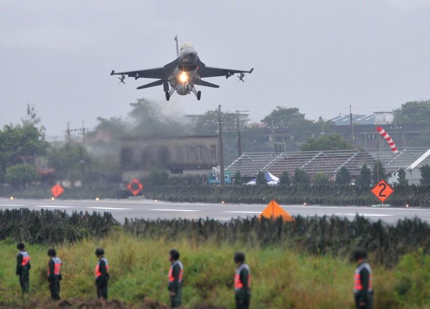F-16 fighter drill in Taiwan