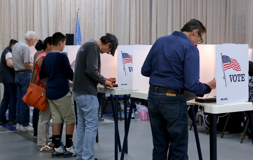 Local voters filled the voting booths at the Youth Center polling station in Burbank on Tuesday, June 5, 2018.