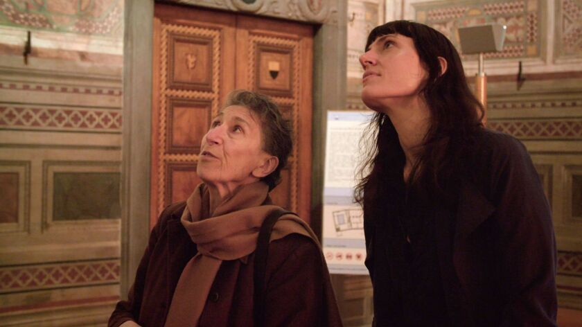 """(L-R) - Silvia Federici and filmmaker Astra Taylor in a scene from """"What is Democracy."""" Credit: Zei"""