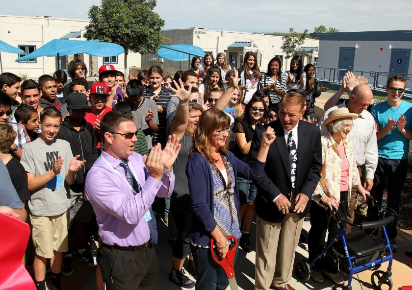Officials were present for a ribbon cutting at the inaugural Bonsall High School right next to Sullivan Middle School. Principal Tim Heck and Superintendent Justin Cunningham were present at the ceremony. The school is the culmination of years of work changing  Bonsall Union School District into th