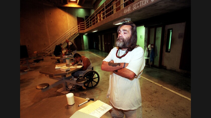 Charles Manson waits in the high-security area of Corcoran State Prison in 1998.
