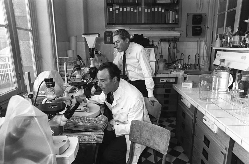 Francois Jacob, left and Jacques Monod are shown in their laboratory at the Pasteur Institute.