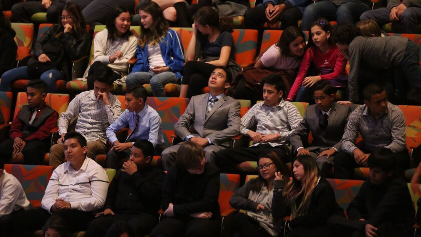 More than 2,000 middle-school students filed into Disney Hall to hear orchestral music written by their peers.