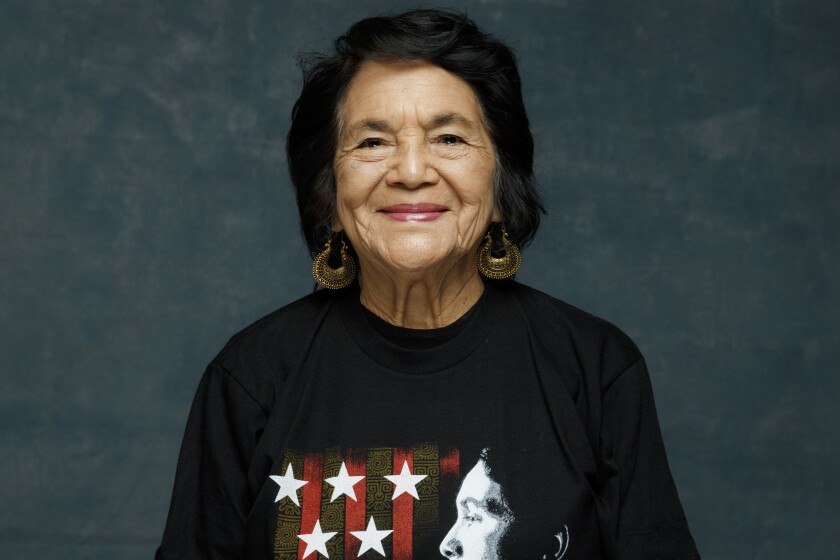 "Dolores Huerta, subject of the new documentary ""Dolores,"" seen in the L.A. Times photo studio during"