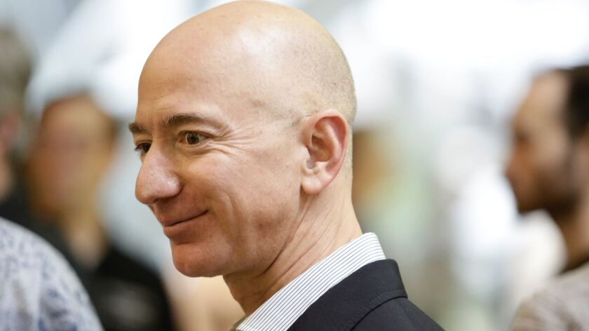 Amazon CEO Jeff Bezos attends the grand opening of the Amazon Spheres facility in Seattle on Jan. 29, 2018.