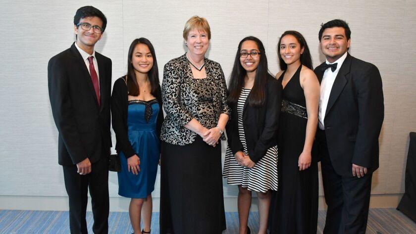 Ronak Roy (Scholarship recipient; Canyon Crest Academy), Anna Anderson (Scholarship recipient; Missi