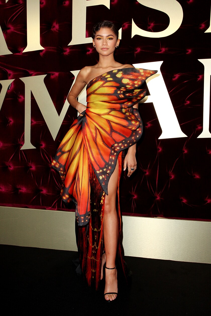 """Zendaya wears a monarch butterfly-print gown by Moschino at the Australian premiere of """"The Greatest Showman."""""""