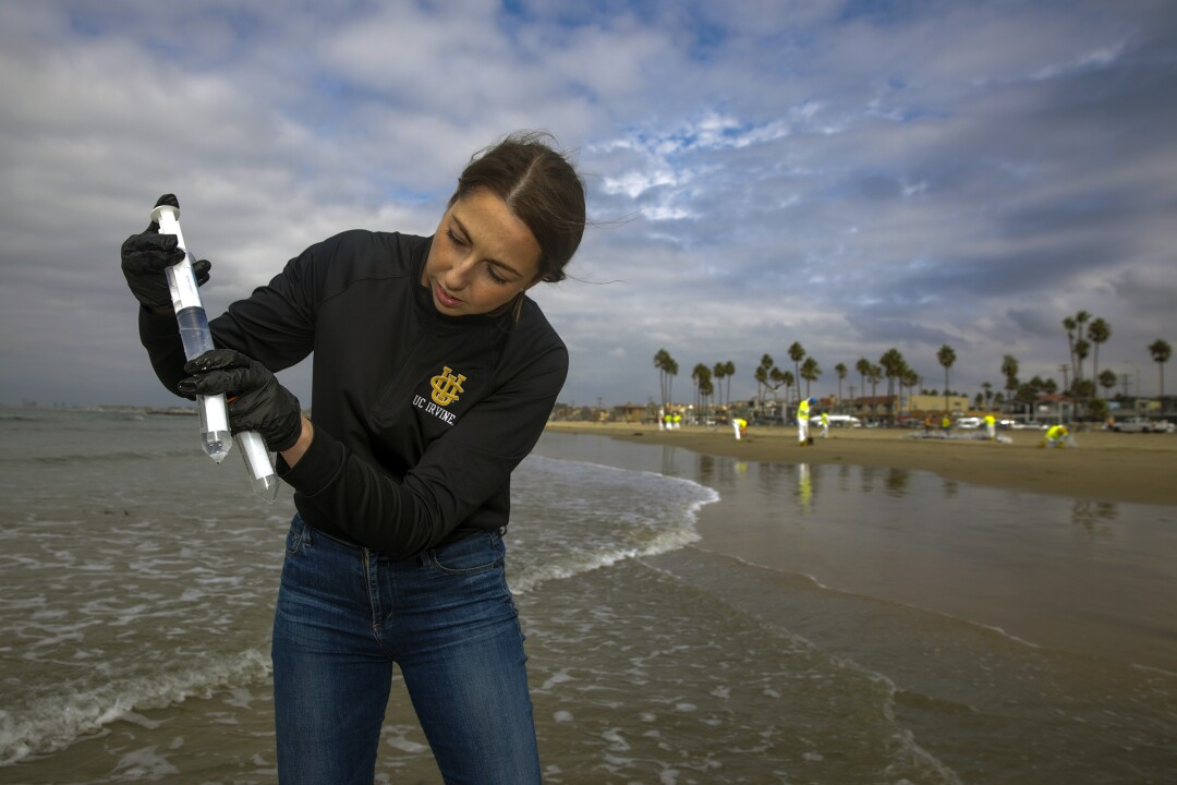 A woman squirts seawater into a collection tube in a beach