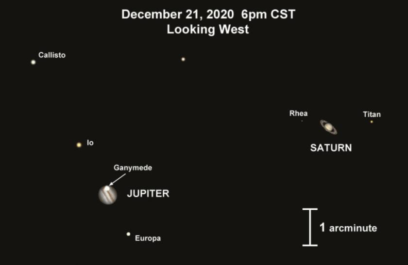 Así se verá la conjunción de los planetas desde un telescopio
