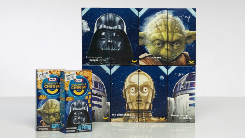 """Kraft """"Star Wars"""" macaroni and cheese includes pasta in the shape of Darth Vader, Yoda and more."""