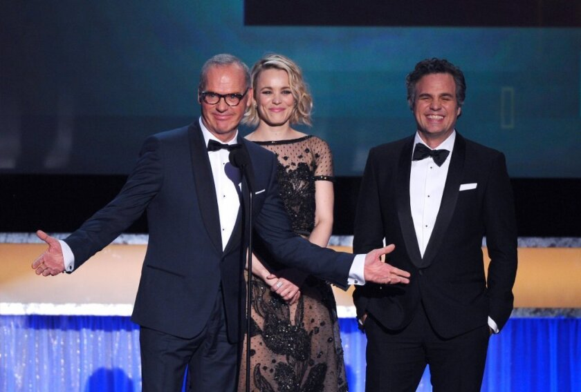"""""""Spotlight"""" won the Screen Actors Guild Award for outstanding performance by a cast in a motion picture on Saturday at the Shrine Auditorium in Los Angeles."""