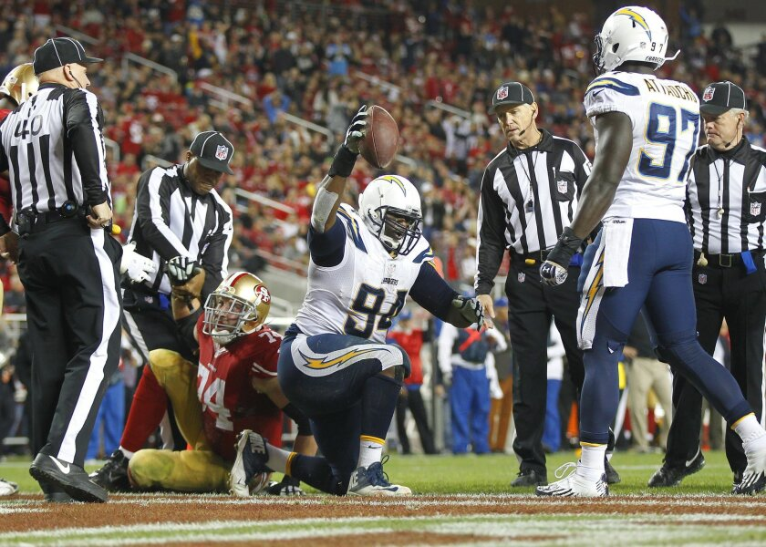 Chargers Dwight Freeney hits 49ers Colin Kaepernick and causes a fumble and Corey Liuget recovered it for a touchdown.