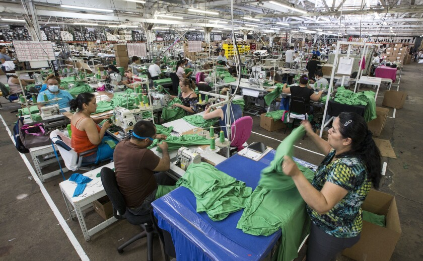 Workers inside  Los Angeles Apparel