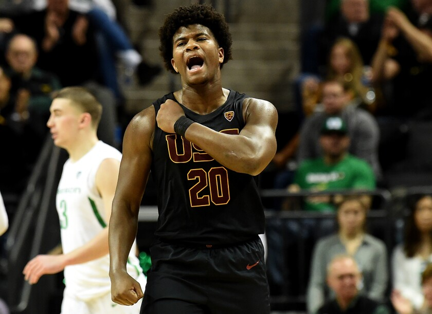 USC's Ethan Anderson reacts after Oregon scored during the second half on Jan. 23 in Eugene, Ore.