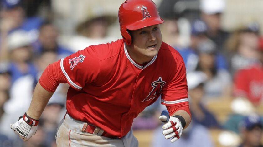 Angels' Matt Thaiss runs during a spring training baseball in Glendale, Ariz.
