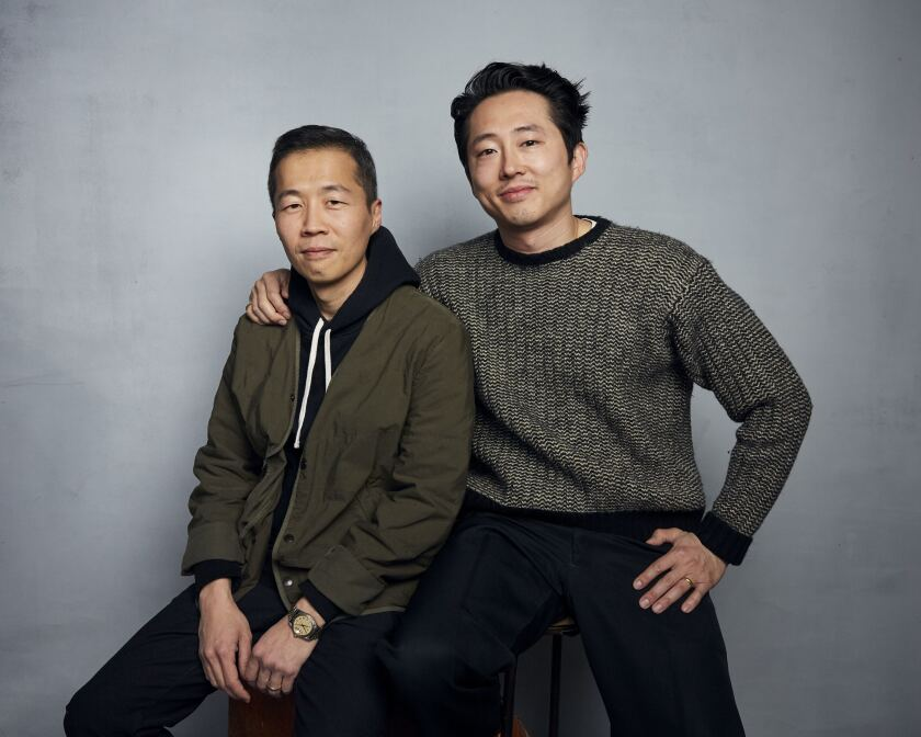 """Director Lee Isaac Chung, left, and Steven Yeun pose for a portrait to promote the film """"Minari"""" at the Music Lodge during the Sundance Film Festival on Monday, Jan. 27, 2020, in Park City, Utah. (Photo by Taylor Jewell/Invision/AP)"""