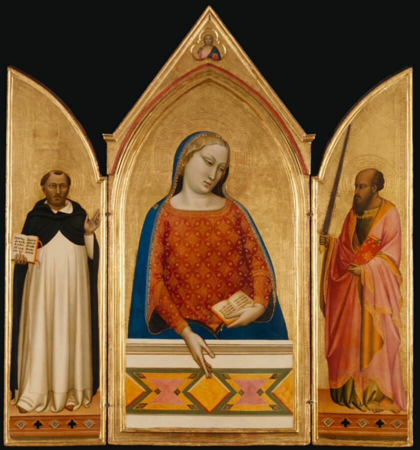 "Bernardo Daddi, ""The Virgin Mary With Saints Thomas Aquinas and Paul,"" about 1335, tempera and gold leaf on panel"