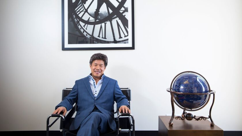 Donald Tang, founder of Tang Media Partners, in his corporate headquarters in Century City.