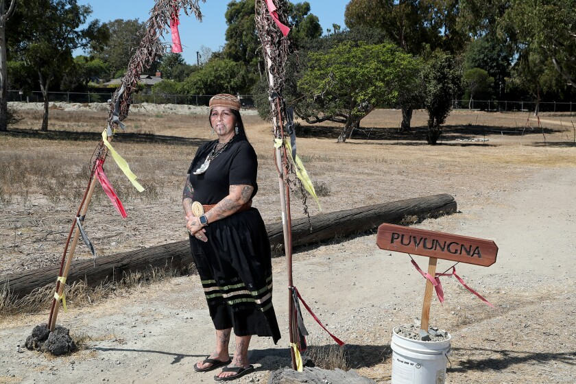 Heidi Lucero, the new chairwoman of the Juaneno Band of Mission Indians, poses at Puvunga, a sacred site in Long Beach.