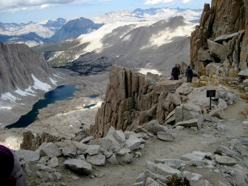 The view from Trail Crest, looking down on Guitar Lake, a spot along the Mt. Whitney trail. A 75-year-old hiker's remains were found on the mountain.
