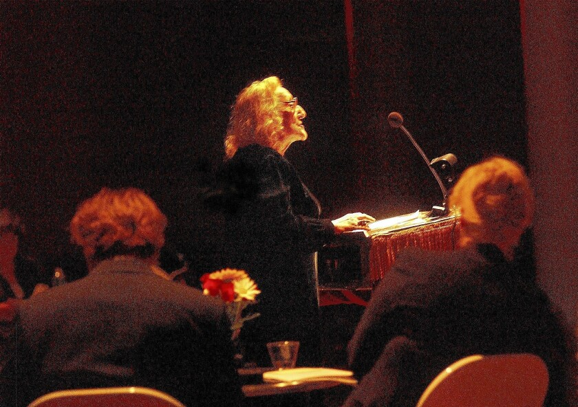 Nina Cassian is shown reading her poetry in 2003.