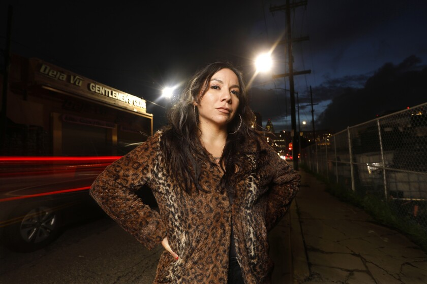LOS ANGELES, CALIFORNIA--FEB. 14, 2019--Adult dancer Domino Rey, age 31, is organizing worker at De