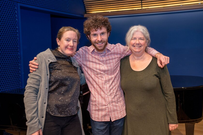 """""""Eurydice"""" librettist Sarah Ruhl, left, composer Matthew Aucoin and director Mary Zimmerman at rehearsal last month in New York."""