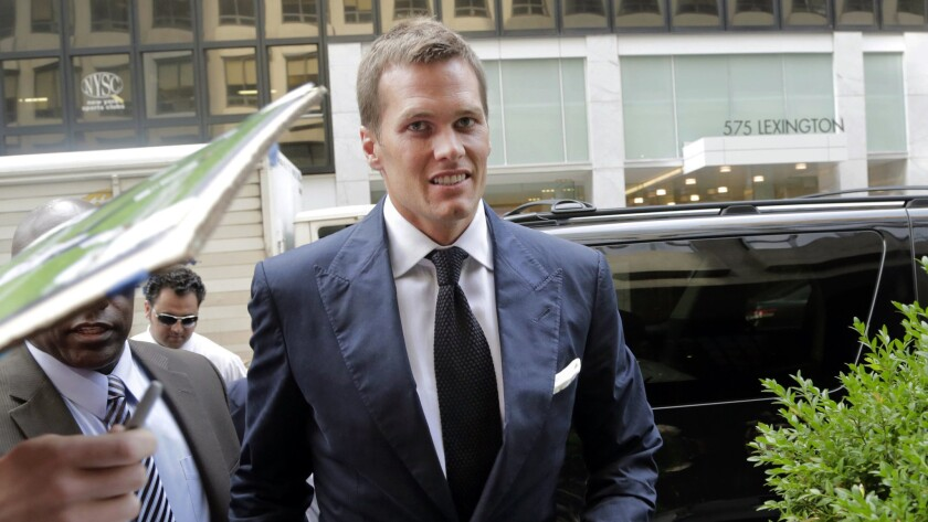 New England Patriots quarterback Tom Brady arrives for his appeal hearing at NFL headquarters in New York on Tuesday.