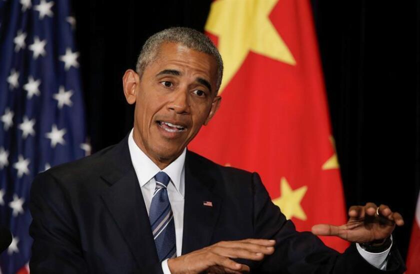 """El presidente, Barack Obama, recordó hoy que el """"statu quo"""" entre China y Taiwán, sustentando en el principio de """"una sola China"""" que ha cuestionado su sucesor en la Casa Blanca, Donald Trump, ha contribuido a mantener la """"paz"""". EFE/ARCHIVO"""