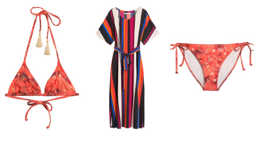 Toms and & Other Stories tassel-trim Anita triangle bikini top, $39, from left, striped Cyrene dress