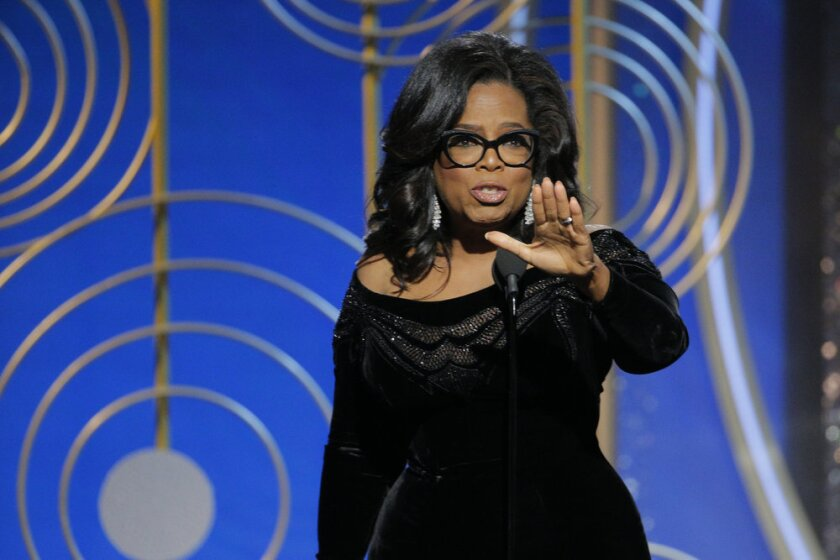 Oprah Winfrey, recipient of the Cecil B. Demille Award, delivers a speech at the 75th Golden Globe Awards.