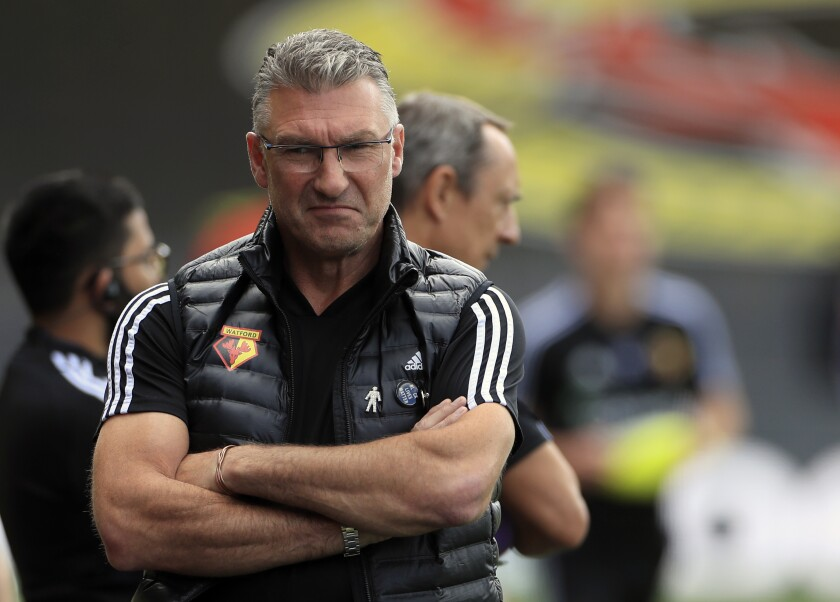 Watford's head coach Nigel Pearson before the English Premier League soccer match between Watford and Newcastle at the Vicarage Road Stadium in Watford, England, Saturday, July 11, 2020. (Mike Egerton/Pool via AP)