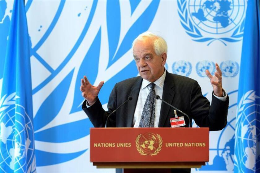 John McCallum of Canada speaks at a press conference at the United Nations in Geneva, Switzerland, Mar.30, 2016. EPA-EFE/FILE MARTIAL TREZZINI