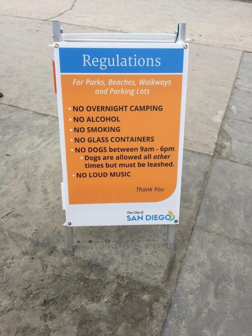 Beach regulations are now posted at La Jolla Shores Park entrances.