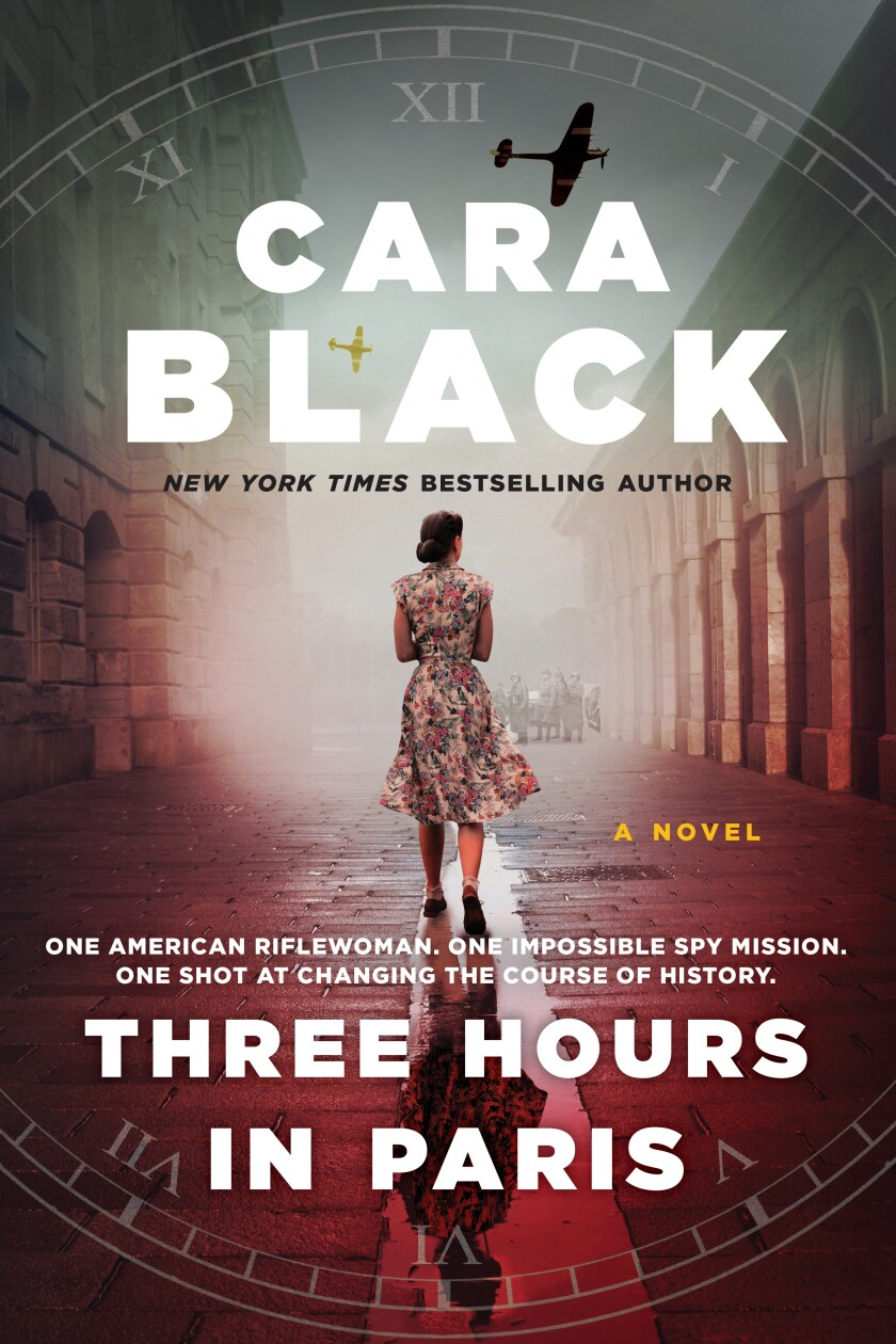 "A book jacket for ""Three Hours in Paris,"" by Cara Black."