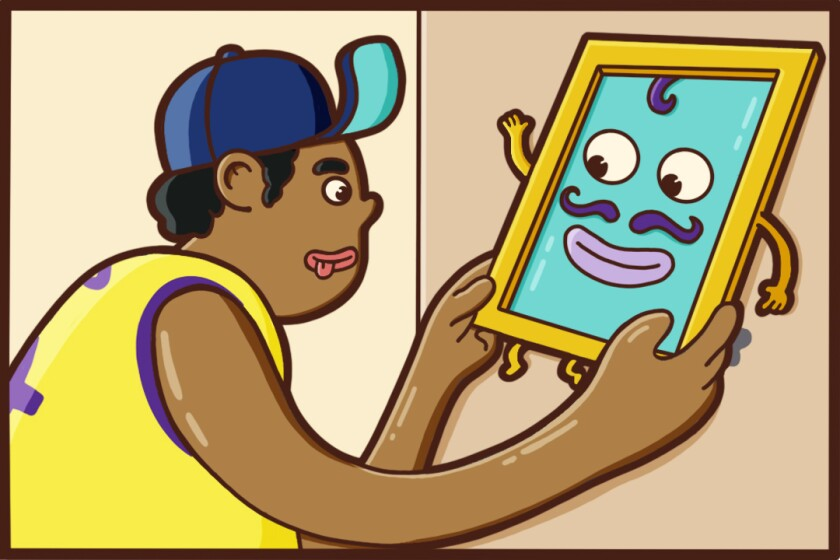 Illustration shows a young man safely hanging a picture
