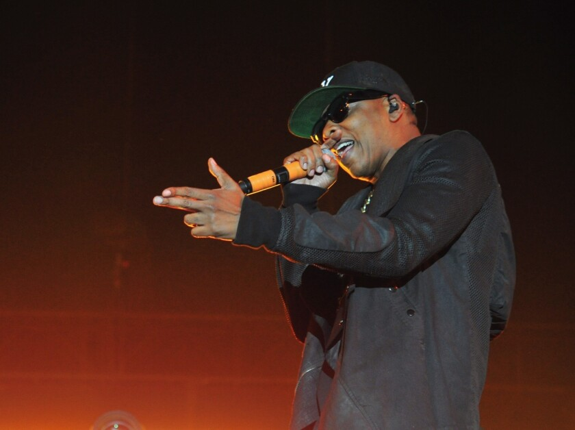 Rapper Jay-Z performs onstage during Day 2 of the 2014 Coachella Valley Music & Arts Festival at the Empire Polo Club in Indio.