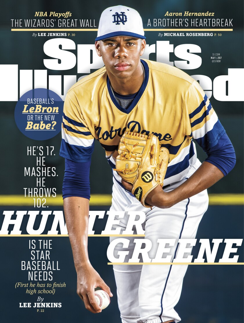 Notre Dame High School's Hunter Greene is featured on the latest cover of Sports Illustrated.